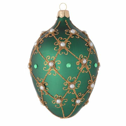 Oval Christmas bauble in green and gold blown glass 130mm s1