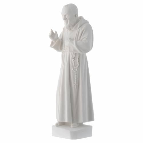 Padre Pio 30 cm polvere di marmo bianco s3