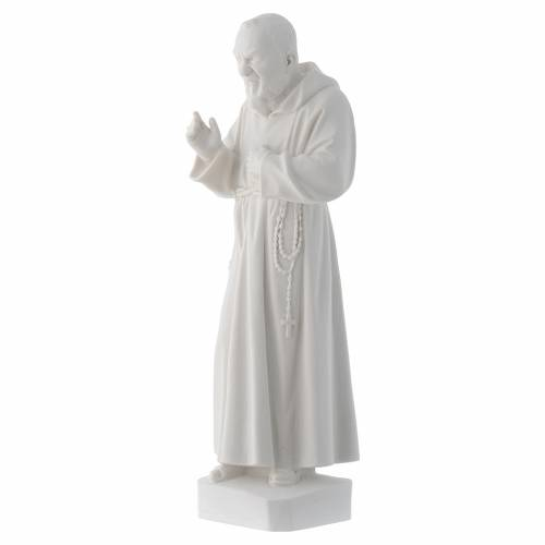 Padre Pio statue, 30 cm in white marble dust s3