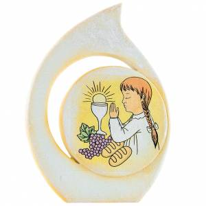 Painting Girl First Communion drop shaped 11cm s1