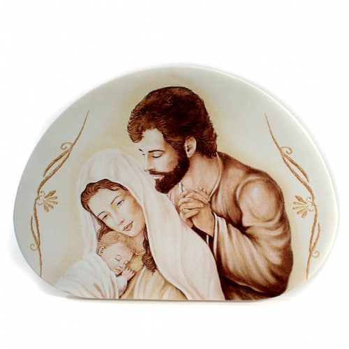 Painting Holy Family semioval shaped 30x42cm s1