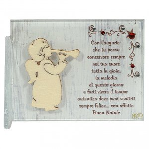Christmas home decorations: Painting of angel with trumpet and greeting 8,5x10 cm