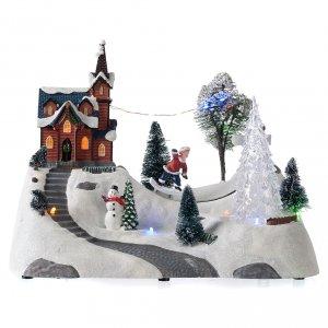 Pueblos navideños en miniatura: Paisaje de Navidad con música, iglesia, muñeco de nieve y árbol en movmimento 20x30x15 cm