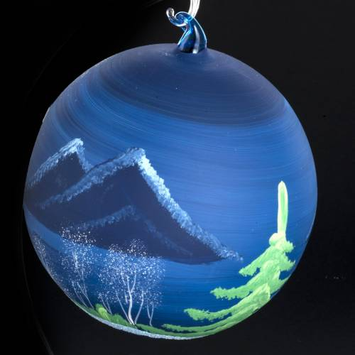 Palla Natale albero paesaggio vetro soffiato 14 cm s4