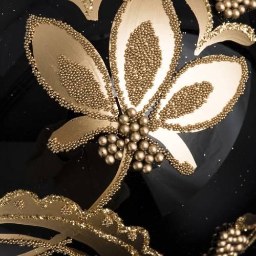 Palla Natale per albero vetro nero decori oro 10 cm s3