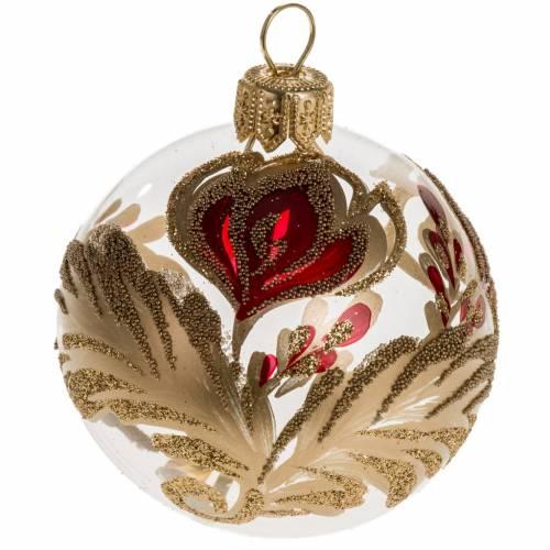 Palla Natale vetro trasparente con fiore rosso oro 6 cm s1
