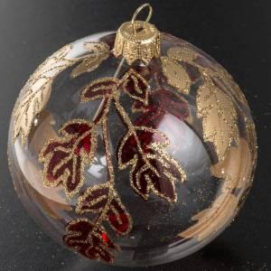 Palla Natale vetro trasparente decori rossi oro 8 cm s2