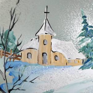 Palla per albero di Natale paesaggio innevato 10 cm s3