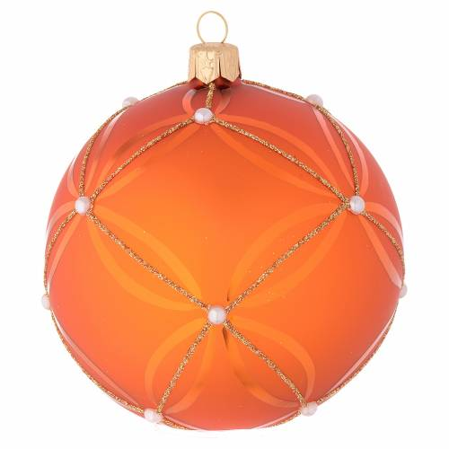 Palla vetro soffiato arancione e oro 100 mm s1