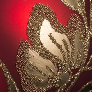 Pallina albero Natale rossa piante fiori oro 8 cm s3