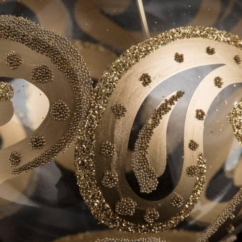 Pallina albero Natale trasparente oro gocce 8cm s3