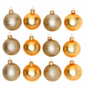 Palline di Natale: Palline vetro oro 60 mm scatola 12 pz assortiti
