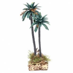 Palmier double avec fleurs h 21 cm en pvc s1