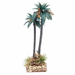 Palmier double avec fleurs h 21 cm en pvc s2