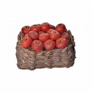Panier pommes en cire pour crèche 10x7x8cm s1