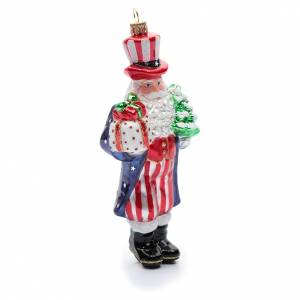 Adornos de vidrio soplado para Árbol de Navidad: Papá Noel disfrazado de Tío Sam adorno vidrio soplado Árbol de Navidad