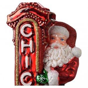 Adornos de vidrio soplado para Árbol de Navidad: Papá Noel en Chicagoadorno vidrio soplado para Árbol de Navidad