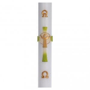 Candles, large candles: Paschal candle in white wax with green Cross Resurrected Christ 8x120cm