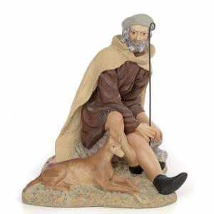 Pastore con cane 30 cm pasta di legno dec. fine s1