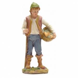 Statue per presepi: Pastore con cesta di pesci 21 cm