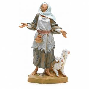 Statue per presepi: Pastorella con pecore 19 cm Fontanini
