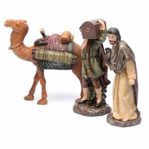 Pastori e cammello resina set 3 pz per presepe 20 cm s2