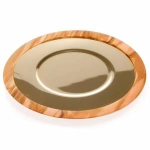 Patène bois d'olivier et laiton doré 18 cm s3