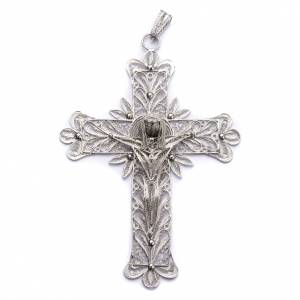 Pectoral Cross in silver, stylized Christ's body decoration s1