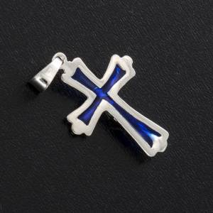 Pendant cross with blue enamel in sterling silver s3