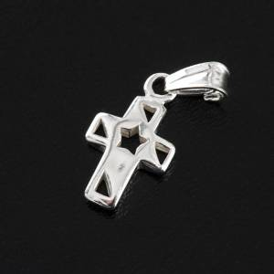 Pendant cross with star silver 1,5cm s3