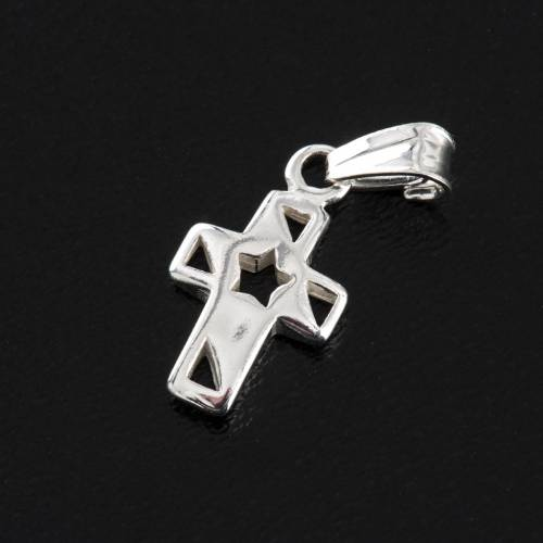 Pendant cross with star silver 1,5cm 3