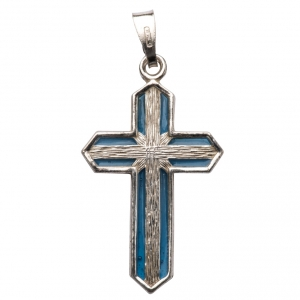 Pendant crucifix in silver and light blue enamel s3