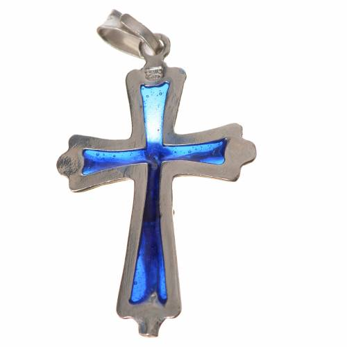 Pendant crucifix in silver with blue enamel s2