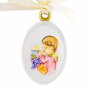 Bonbonnière: Pendant Girl First Communion oval shaped 6cm