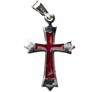 Pendente croce a punta con smalto rosso s1