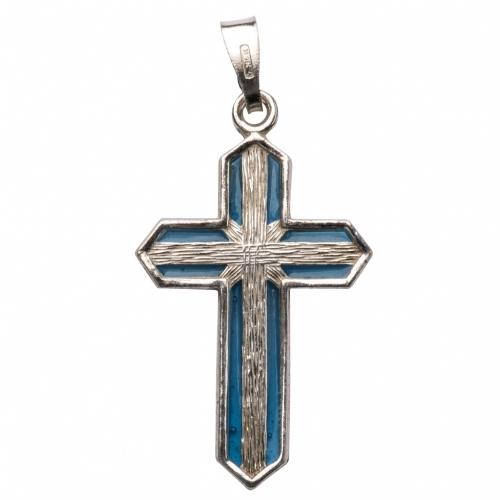 Pendentif croix argent et émail azur s3