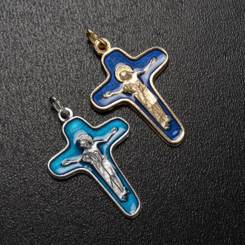 Pendentif croix métal 34 mm émail bleu Marie et Christ s2