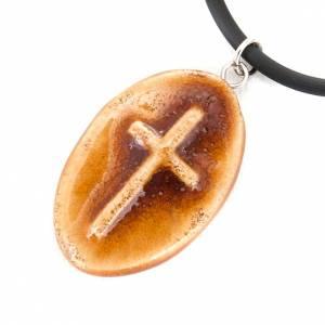 Pendentif en céramique ovale avec croix s3