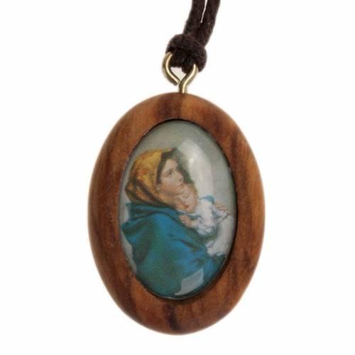 Pendentif ovale bois d'olivier Vierge du Ferruzzi s1
