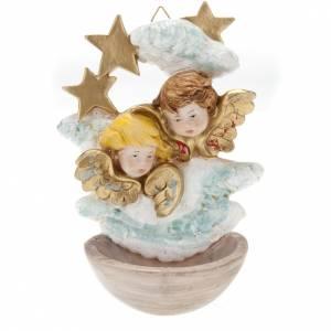 Pila de agua bendita: Pila de agua bendita angelitos con estrellas plástico Fontanini