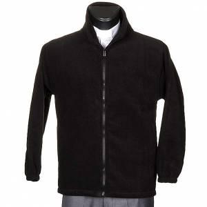 Pullover: Pile-Jacke Schwarz mit Taschen und Reisverschluss
