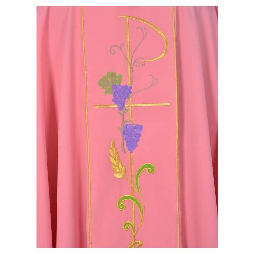 Pink chasuble in 100% polyester, Chi-Rho ears of wheat, grapes s3