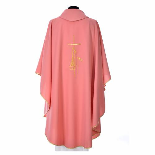 Pink Chasuble in polyester with cross, lantern and wheat symbol s3