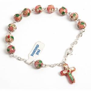 Single decade rosary bracelets: Pink cloisonnè rosary bracelet