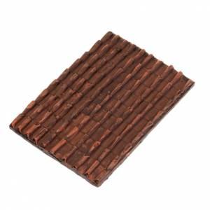 Plaque toit en tuiles rouges crèche noël s1