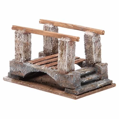 Pont crèche avec parapet bois 10x18x11 cm s3