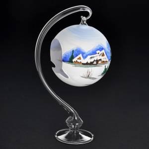 Portacandela Natale dipinto a mano vetro soffiato s3