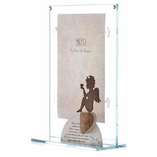 Portafoto in vetro con angelo bianco 14x20 cm s2