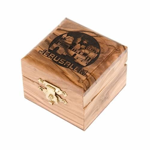 Portarosario caja de olivo Jerusalen s1