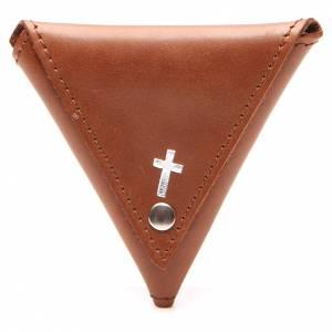Portarosario triangolo pelle marrone croce s1